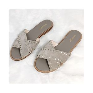 Cream suede studded sandals Nine West